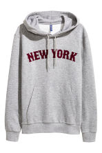 Hooded top with a text motif - Grey/New York - Men | H&M CN 2