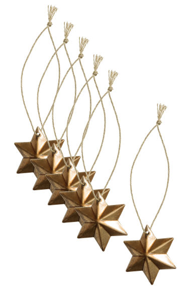 6-pack Christmas decorations - Gold - Home All | H&M CN 1