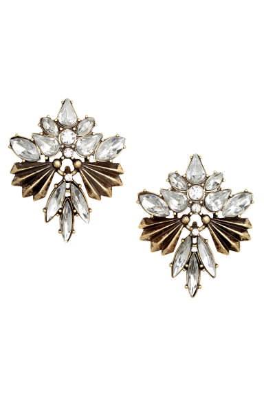 Sparkly stone earrings - Gold - Ladies | H&M CN 1