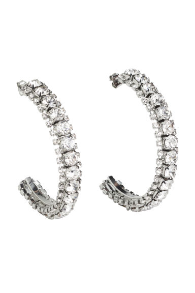 Sparkly hoop earrings - Silver - Ladies | H&M CN 1