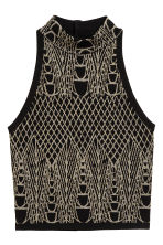 Glittery turtleneck top - Black/Patterned - Ladies | H&M CN 2