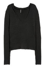 Pullover a coste con cappuccio - Nero - DONNA | H&M IT 2