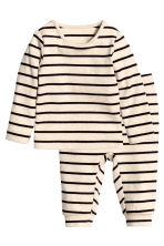 Top and trousers - Light beige/Striped - Kids | H&M CN 1