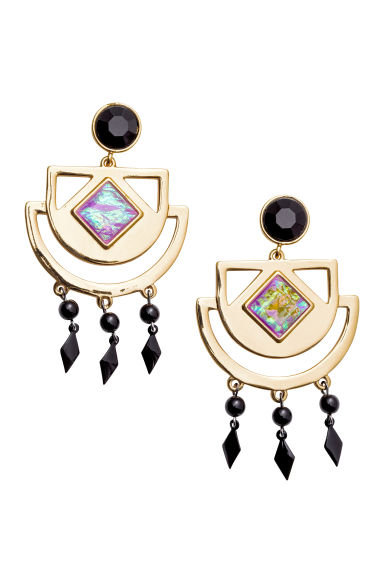 Large earrings - Gold/Black - Ladies | H&M CN 1