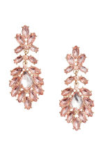 Earrings with glass beads - Gold/Pink - Ladies | H&M CN 1