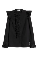 Frilled cotton blouse - Black - Ladies | H&M CN 2