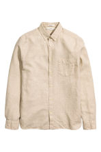 Shirt in a linen blend - Light beige - Men | H&M CN 2
