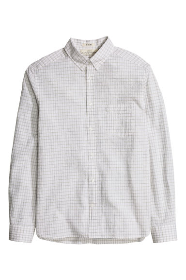 Seersucker shirt - White/Checked - Men | H&M CN 1