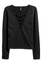 Top with lacing - Black - Ladies | H&M CN 2