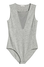 Sleeveless jersey body - Grey marl - Ladies | H&M CA 2