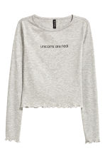 Cropped top - Grey - Ladies | H&M CN 2