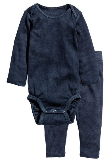Bodysuit and trousers - Dark blue - Kids | H&M CN 1
