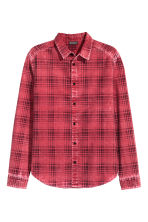 Washed cotton shirt - Red/Checked - Men | H&M CN 3