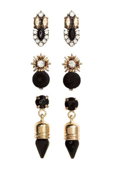 3-pack earrings - Gold/Black - Ladies | H&M 1
