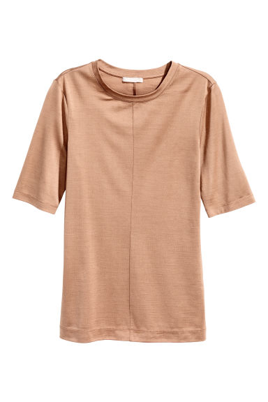 Silk top - Beige - Ladies | H&M CN 1