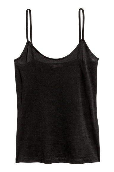 Strappy silk top - Black - Ladies | H&M CN 1