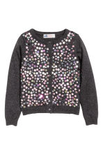 Cotton cardigan with sequins - Dark grey - Kids | H&M CN 2