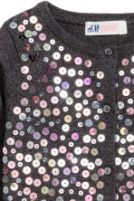 Cotton cardigan with sequins - Dark grey - Kids | H&M CN 3