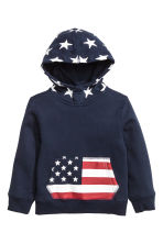Printed hooded top - Dark blue - Kids | H&M CN 2