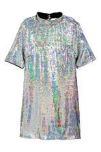 Short sequined dress - Silver - Ladies | H&M CN 2
