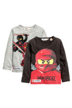 2-pack long-sleeved T-shirts - Grey/Lego - Kids | H&M CN 2