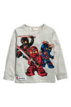 2-pack long-sleeved T-shirts - Grey/Lego - Kids | H&M CN 3