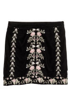 Embroidered velvet skirt - Black/Embroidery - Ladies | H&M CN 2