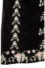 Embroidered velvet skirt - Black/Embroidery - Ladies | H&M CN 3