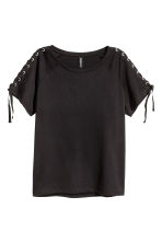 Jersey top with lacing - Black - Ladies | H&M CN 2
