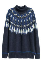 Jacquard-knit polo-neck jumper - Dark blue/Patterned - Ladies | H&M GB 2