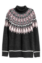 Jacquard-knit polo-neck jumper - Dark grey/Patterned - Ladies | H&M GB 2