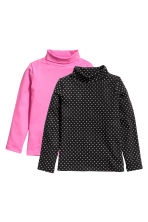2-pack polo-neck tops - Black/Patterned - Kids | H&M CN 2