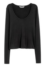 Long-sleeved jersey top - Black - Ladies | H&M CN 2
