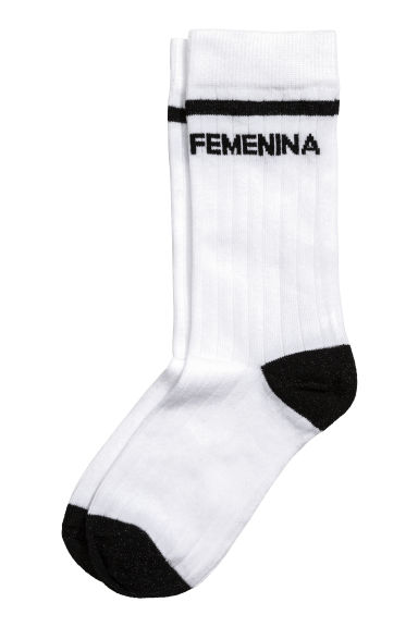 Ribbed socks - White - Ladies | H&M CN 1