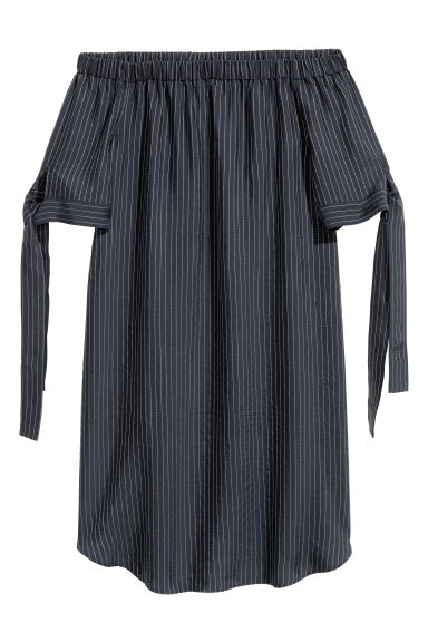 Lyocell-blend tunic - Black/Striped - Ladies | H&M CN 1