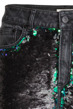 Jeans con paillettes - Grigio scuro/verde - DONNA | H&M IT 5