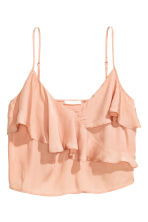 Cropped strappy flounced top - Powder beige - Ladies | H&M CN 2