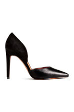 Leather and suede court shoes - Black - Ladies | H&M 1