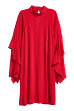 Crêpe dress with flounces - Dark red - Ladies | H&M CN 2