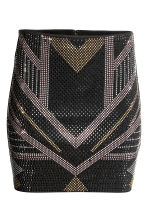 Skirt with studs - Black/Gold/Silver - Ladies | H&M CN 2