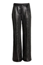 Wide sequined trousers - Black - Ladies | H&M CN 2