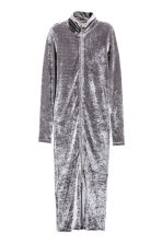 Crushed velvet dress - Grey - Ladies | H&M CN 2
