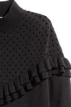 Frilled knitted jumper - Black - Ladies | H&M CN 3