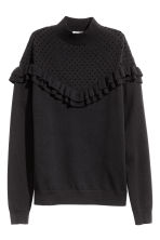 Frilled knitted jumper - Black - Ladies | H&M CN 2