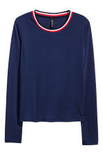 Ribbed top - Dark blue - Ladies | H&M CN 2