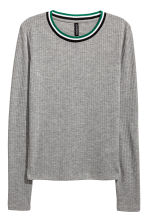 Ribbed top - Grey marl - Ladies | H&M CN 2