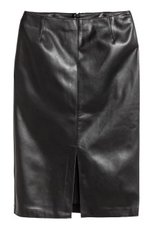 Imitation leather pencil skirt