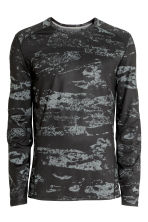 Sports top - Black/Patterned - Men | H&M CN 2