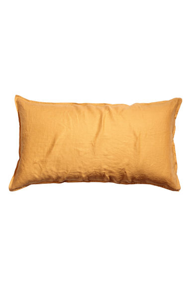 Washed linen pillowcase - Mustard yellow - Home All | H&M CN 1