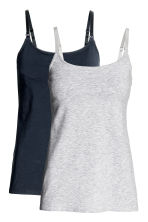 MAMA 2-pack nursing tops - Dark blue/Grey - Ladies | H&M 2